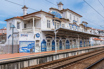 Historic building of Aveiro Railway station. Portugal.