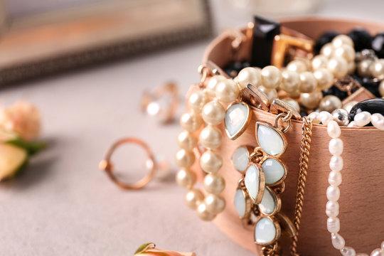 Jewelry accessories in box, closeup