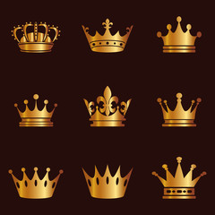 Collection of crown silhouette. Monarchy authority and royal symbols. Golden vintage antique icons. Crown symbol for your web site design, logo, app, UI. Vector illustration, EPS10.