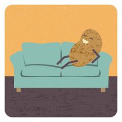 Concept couch potato, vector
