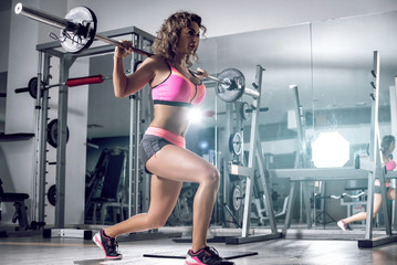 Lunge exercise with barbell