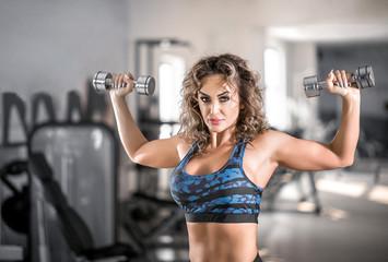 Female shoulder press exercise