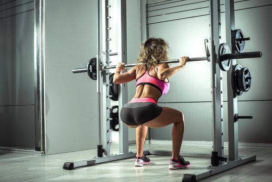 Squats in modern gym