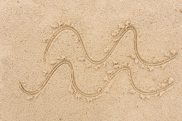 Drawing of waves and sea on sand symbolizing rest background