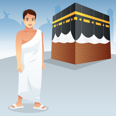 Muslim Man in Front of Kaaba