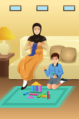 Muslim Mother and Son at Home