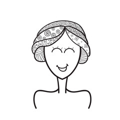 Girl drawn in the style of Doodle zentangle , black conturn on a white background, cartoon style
