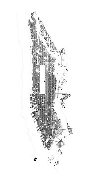 Detailed Vector Map of New York Manhattan in Black and White
