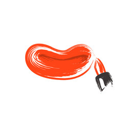 Female lips and lipstick on a white background. Vector illustration of a grunge brush.