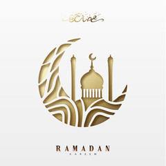 Ramadan greeting card with arabic calligraphy Ramadan Kareem. Islamic background half a month with mosques.