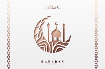 Ramadan greeting card with arabic calligraphy Ramadan Kareem. Islamic background half a month with mosques.