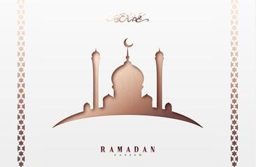 Ramadan greeting card with arabic calligraphy Ramadan Kareem. Islamic background with mosques.