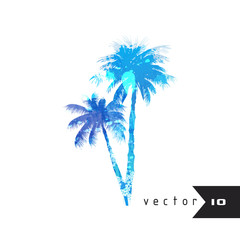 Watercolor silhouette of a palm trees isolated on white background