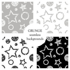 Set of seamless vector patterns. geometrical backgrounds with geometric figures, forms, stars, circles. Grunge texture with attrition, cracks and ambrosia Old style vintage design Graphic illustration