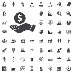 Pictograph of money in hand. Vector icon