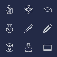 Set Of 9 Studies Outline Icons Set.Collection Of Atom, Graduation Cap, Pen And Other Elements.