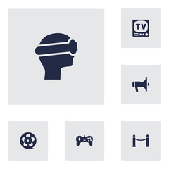 Set Of 6 Pleasure Icons Set.Collection Of Joystick, Megaphone, Cinema Fence And Other Elements.