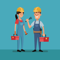 couple worker construction tools clothes labor day vector illustration