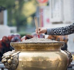 Burning Incense sticks for worship goddess