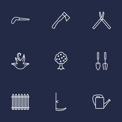Set Of 9 Household Outline Icons Set.Collection Of Arm-Cutter, Instruments, Hatchet And Other Elements.