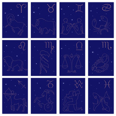 Twelve Zodiac sign starry contours