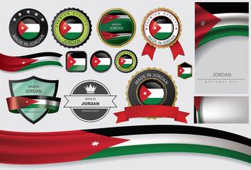 Made in Jordan Seal, Jordanian Flag (Vector Art)