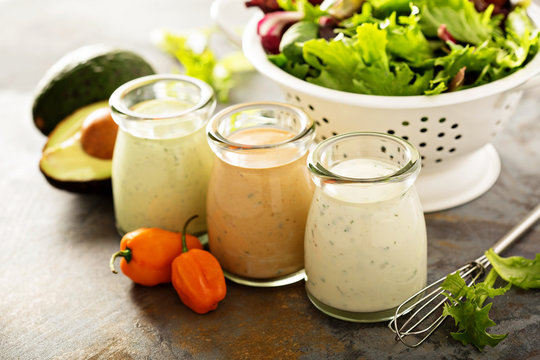 Homemade ranch dressing variety in small jars