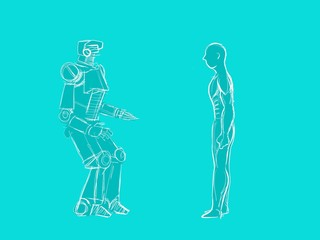 human vs robot illustration with a human standing in front of a robot