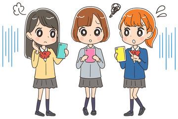 困っている女子高生のイラスト(全身)