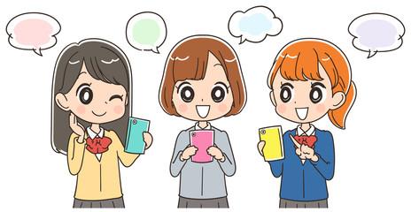 スマホを使う女子高生のイラスト