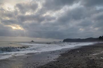 Rialto Beach, Olympic National Park on a cloudy day