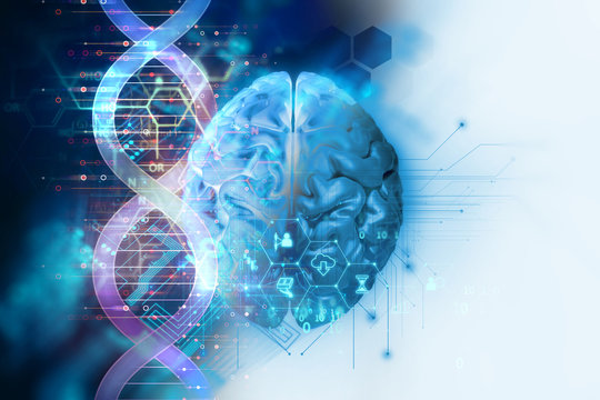 3d illustration of brain on dna molecules  abstract technology background
