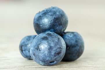 Fresh blueberry on wood table