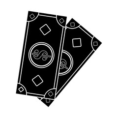 cash money icon image vector illustration design  inverted black and white