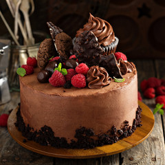 Chocolate cake with ganache frosting and raspberry