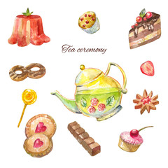 Watercolor tea ceremony. Cakes, teapot, cookie, chockolate, bakery. Bright sketches for cook design.