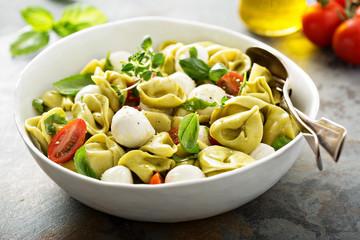 Italian pasta salad with spinach ricotta tortellini