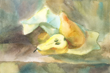 Watercolor still life with pears and a piece of paper. Painting of a student of art studio