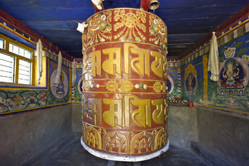 Colorful buddhist prayer wheels in Nepal