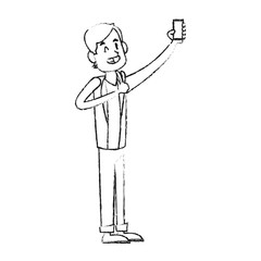 man posing for picture phone icon image vector illustration design