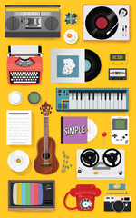 Retro Classic Entertainment Media Mixed Set Icon Illustration Vector