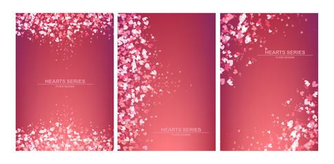 Vector illustration heart background design set