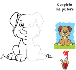 Funny little dog. Complete the picture children drawing game. Coloring book. Cartoon vector illustration