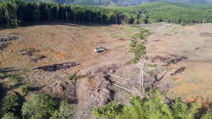 Deforestation. Logging. Aerial drone view of environmental destruction of rainforest