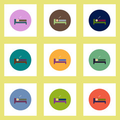 Collection of stylish vector icons in colorful circles man sleeps