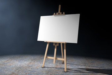 Wooden Artist Easel with White Mock Up Canvas in the volumetric light. 3d Rendering