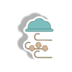 hail and wind, cloud sticker