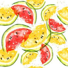 Seamless watercolor pattern with a piece of red and yellow
