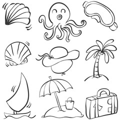 Doodle summer object hand draw