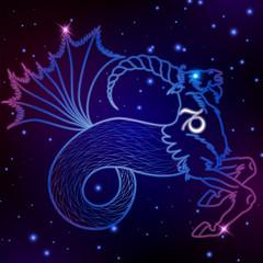 Capricorn zodiac sign, horoscope symbol, vector illustration